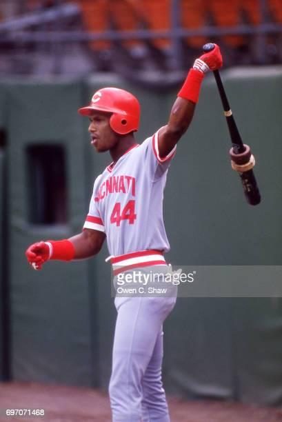 Eric Davis of the Cincinnati Reds prepares to bat against the San Diego Padres at Jack Murphy Stadium circa 1986 in San DiegoCalifornia