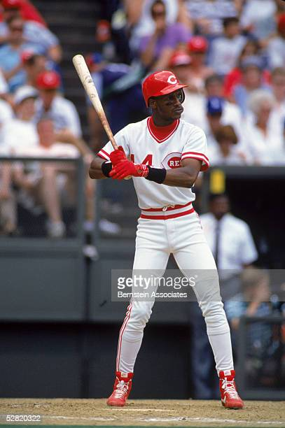 Eric Davis of the Cincinnati Reds waits for the pitch during a May 1991 game at Riverfront Stadium in Cincinnati Ohio