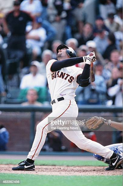 Eric Davis of the San Francisco Giants bats against the Los Angeles Dodgers at Pacific Bell Park on October 7 2001 in San Francisco California