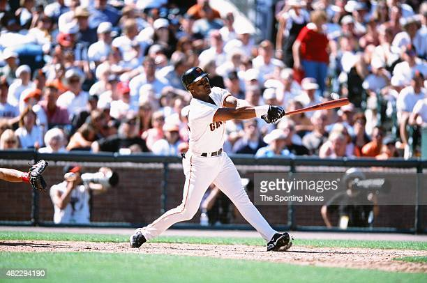 Eric Davis of the San Francisco Giants bats during a game against the St Louis Cardinals on July 1 2001 in San Francisco California