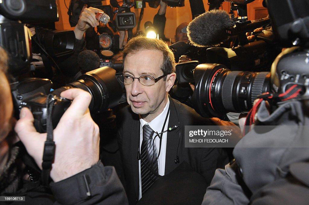 Eric de Caumont, lawyer of French actor Gerard Depardieu makes a statement, on January 8, 2013 at Paris' courthouse, to explain why his client failed to turn up at court today despite being summoned for drink-driving.