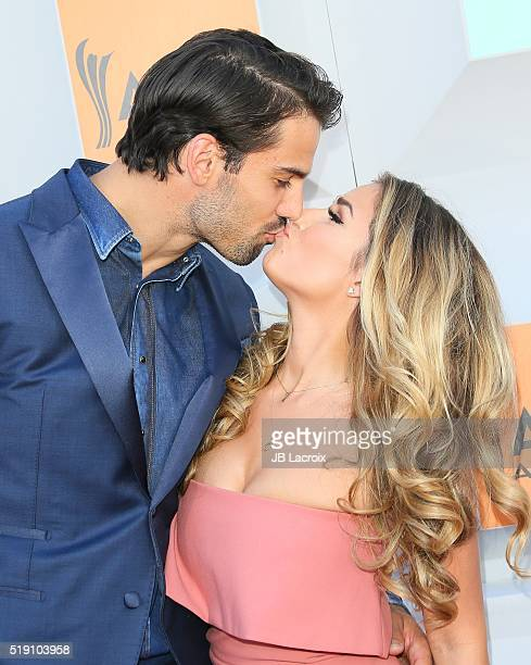 Eric Decker and Jessie James attend the 51st Academy of Country Music Awards at MGM Grand Garden Arena on April 3 2016 in Las Vegas Nevada