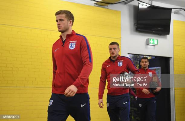 Eric Dier and Jamie Vardy of England arrive prior to the international friendly match between Germany and England at Signal Iduna Park on March 22...