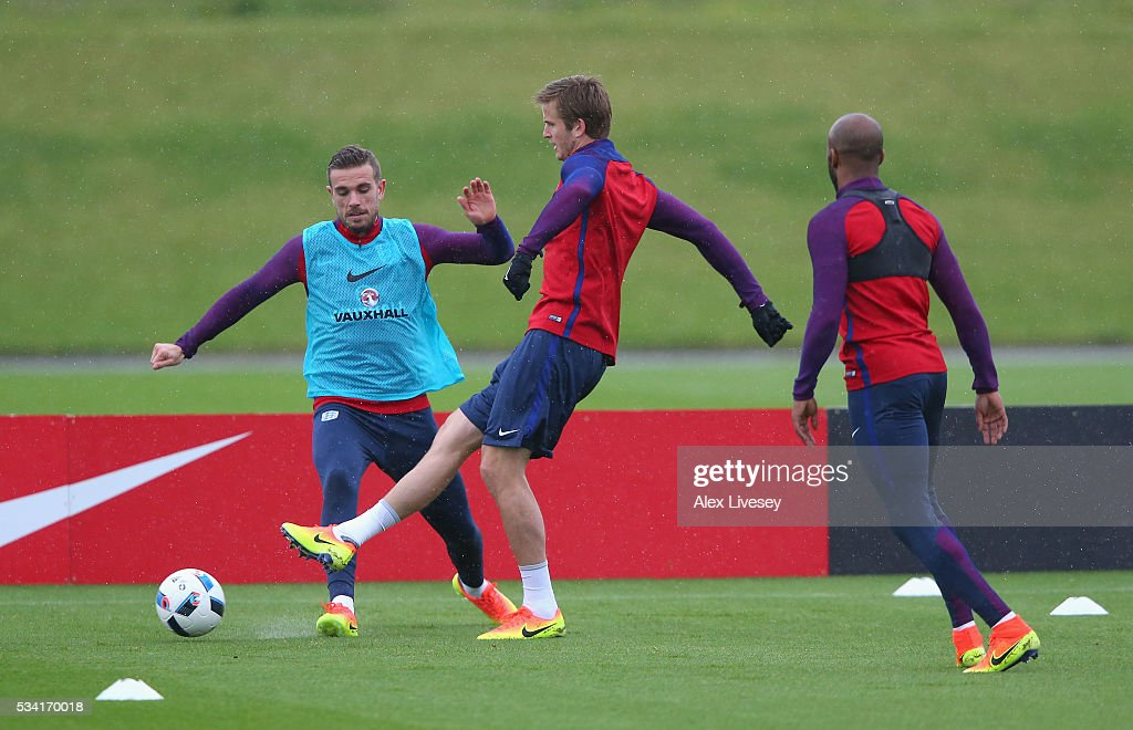 Eric Dier and Jordan Henderson of England train during the England training session at Manchester City Football Academy on May 25, 2016 in Manchester, England.