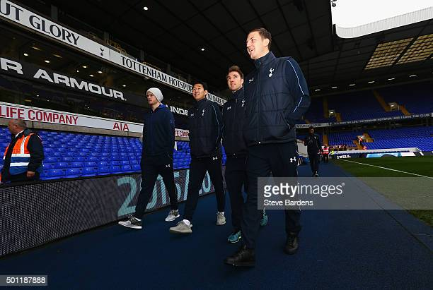 Eric Dier HeungMin Son Christian Eriksen and Kevin Wimmer of Tottenham Hotspur arrive prior to the Barclays Premier League match between Tottenham...