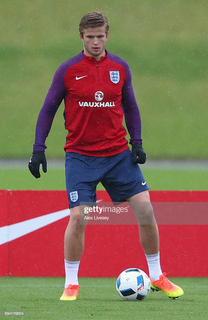 Eric Dier in action during the England training session at Manchester City Football Academy on May 25, 2016 in Manchester, England.