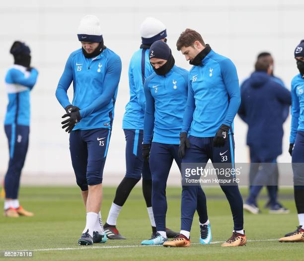 Eric Dier Kieran Trippier and Ben Davies of Tottenham during the Tottenham Hotspur training session at Tottenham Hotspur Training Centre on November...