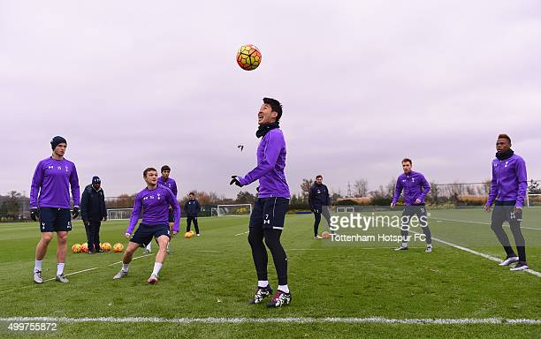Eric Dier Kieran Trippier Son HeungMin Christian Eriksen and Clinton N'Jie in action during the Tottenham Hotspur training session on December 3 2015...