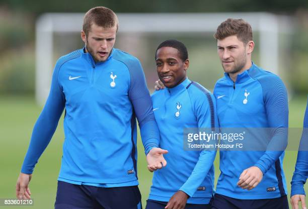 Eric Dier Kyle WalkerPeters and Ben Davies of Tottenham during the Tottenham Hotspur training session at Tottenham Hotspur Training Centre on August...