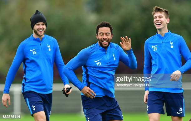 Eric Dier Mousa Dembele and Juan Foyth during the Tottenham Hotspur training session at Tottenham Hotspur Training Centre on October 23 2017 in...
