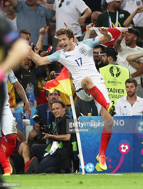 Eric Dier of England celebrates after scoring during the UEFA EURO 2016 Group B match between England and Russia at Stade Velodrome on June 11 2016...