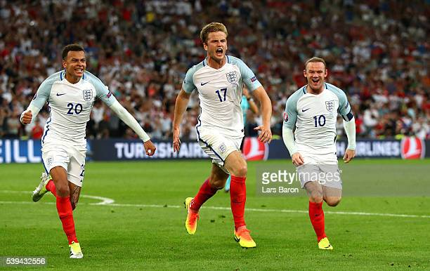 Eric Dier of England celebrates scoring his team's first goal during the UEFA EURO 2016 Group B match between England and Russia at Stade Velodrome...