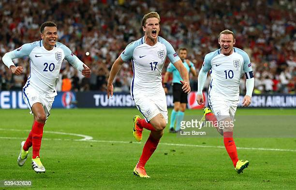 Eric Dier of England celebrates scoring his team's first goal with his team mates during the UEFA EURO 2016 Group B match between England and Russia...