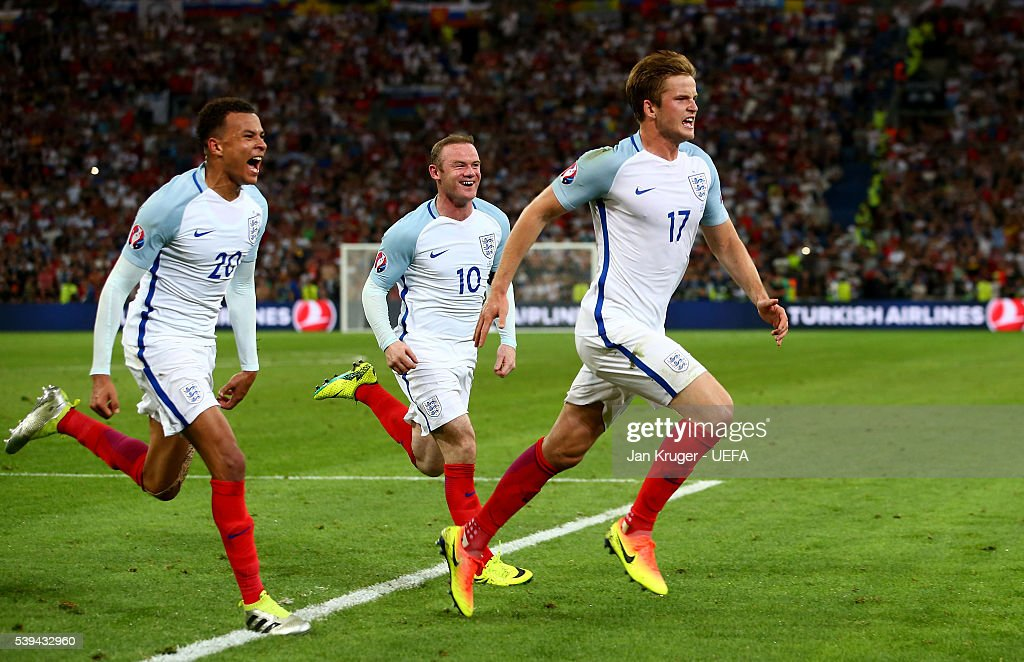 Eric Dier (R) of England celebrates scoring his team's first goal with his team mates Dele Alli (L) and Wayne Rooney (C) during the UEFA EURO 2016 Group B match between England and Russia at Stade Velodrome on June 11, 2016 in Marseille, France.