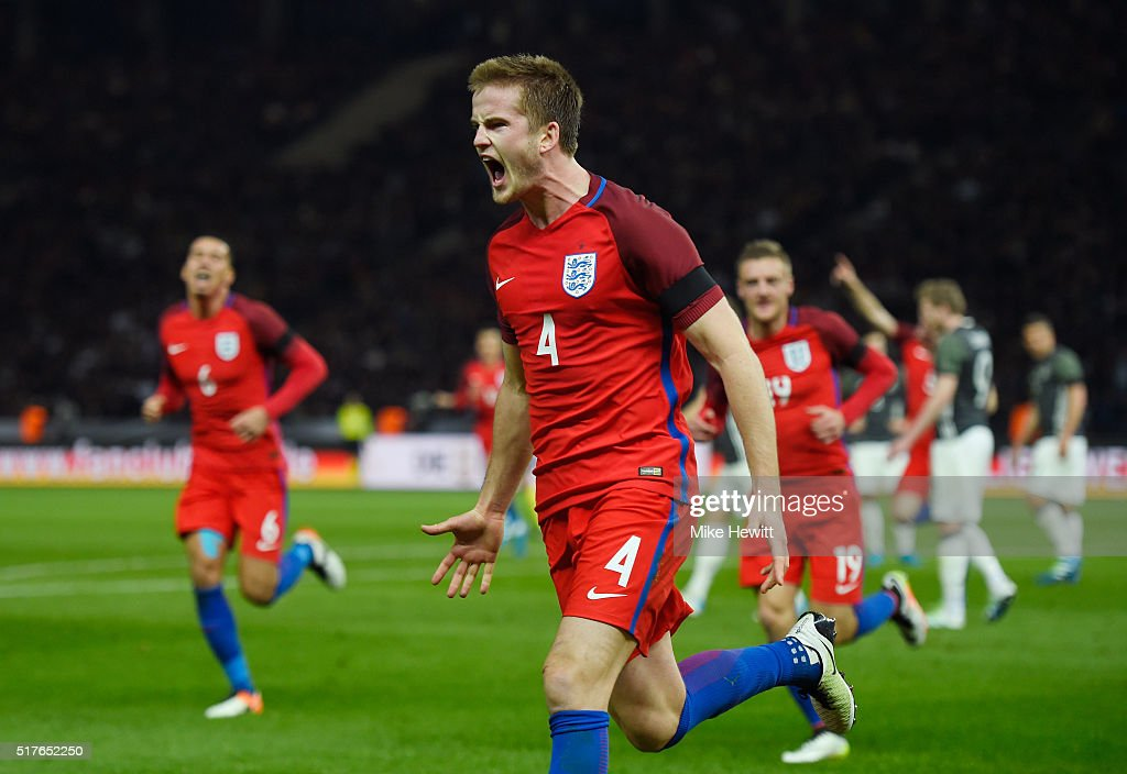 Eric Dier of England celebrates scoring his team's third goal during the International Friendly match between Germany and England at Olympiastadion on March 26, 2016 in Berlin, Germany.