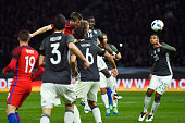 Eric Dier of England heads the ball to score his team's third goal during the International Friendly match between Germany and England at...