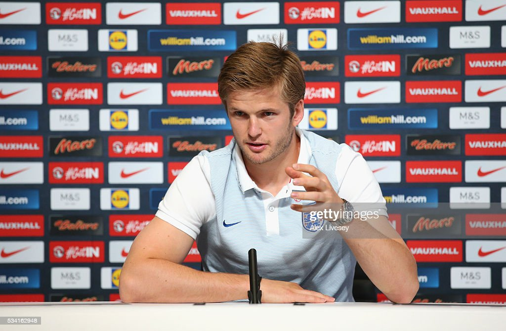 <a gi-track='captionPersonalityLinkClicked' href=/galleries/search?phrase=Eric+Dier&family=editorial&specificpeople=9440610 ng-click='$event.stopPropagation()'>Eric Dier</a> of England looks on during a press conference prior to the England training session at Manchester City Football Academy on May 25, 2016 in Manchester, England.