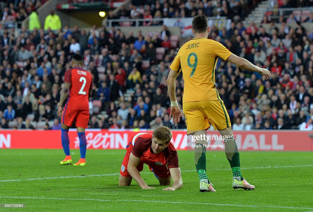 <a gi-track='captionPersonalityLinkClicked' href=/galleries/search?phrase=Eric+Dier&family=editorial&specificpeople=9440610 ng-click='$event.stopPropagation()'>Eric Dier</a> of England reacts after scoring an own goal in the second half during the International Friendly match between England and Australia at Stadium of Light on May 27, 2016 in Sunderland, England.