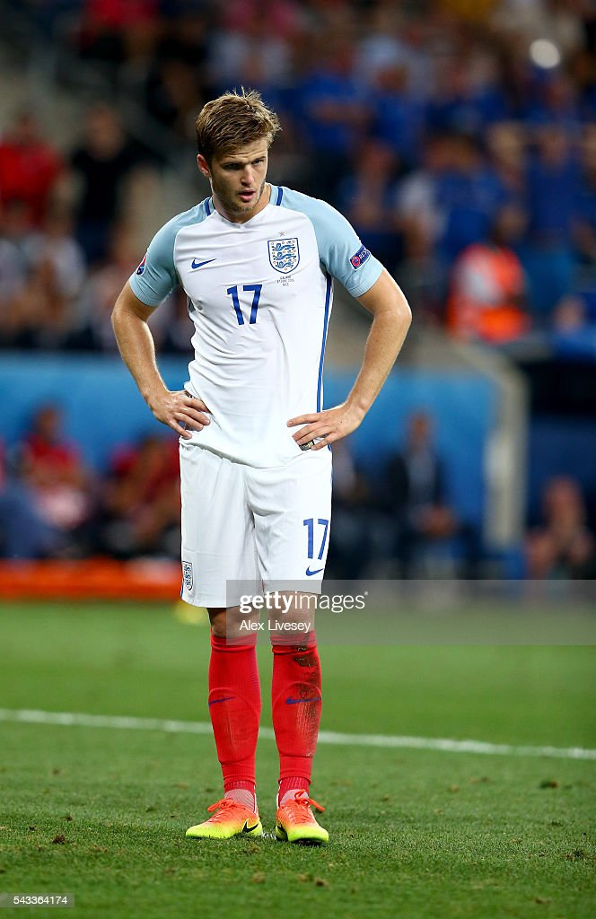 <a gi-track='captionPersonalityLinkClicked' href=/galleries/search?phrase=Eric+Dier&family=editorial&specificpeople=9440610 ng-click='$event.stopPropagation()'>Eric Dier</a> of England reacts during the UEFA EURO 2016 round of 16 match between England and Iceland at Allianz Riviera Stadium on June 27, 2016 in Nice, France.