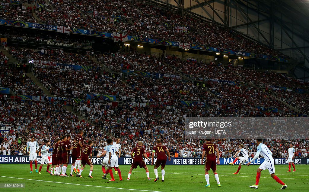 Eric Dier of England scores his team's first goal from a free kick during the UEFA EURO 2016 Group B match between England and Russia at Stade Velodrome on June 11, 2016 in Marseille, France.