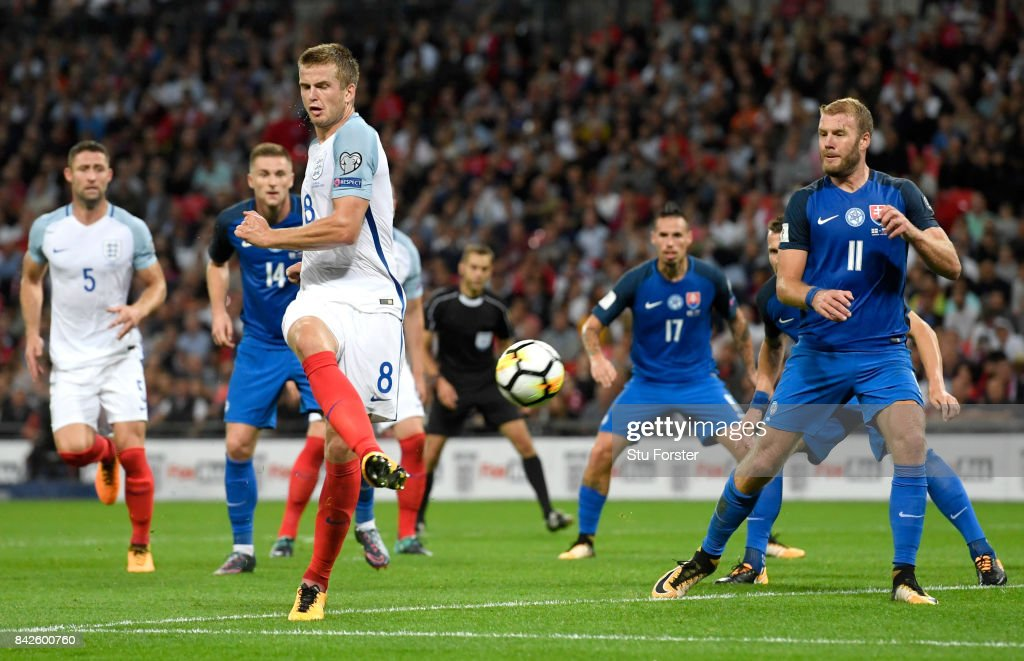 Eric Dier of England scores their first goal during the FIFA 2018 World Cup Qualifier between England and Slovakia at Wembley Stadium on September 4, 2017 in London, England.