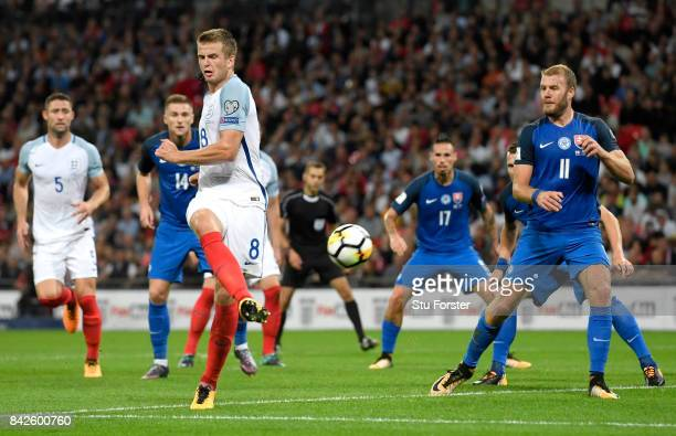 Eric Dier of England scores their first goal during the FIFA 2018 World Cup Qualifier between England and Slovakia at Wembley Stadium on September 4...