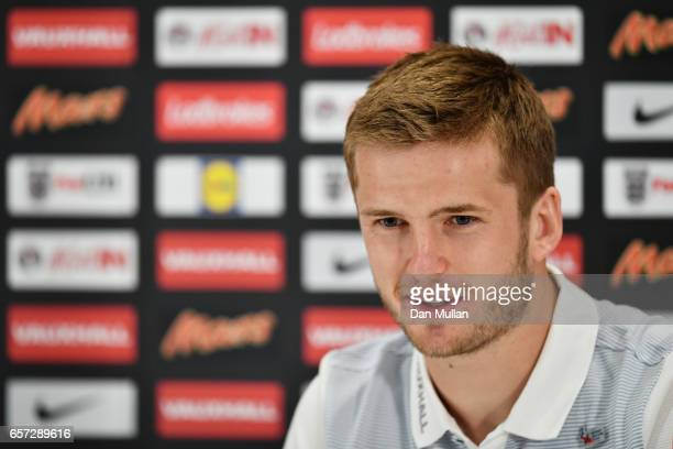 Eric Dier of England speaks to the media during the England Press Conference at The Grove Hotel on March 24 2017 in Hertford England