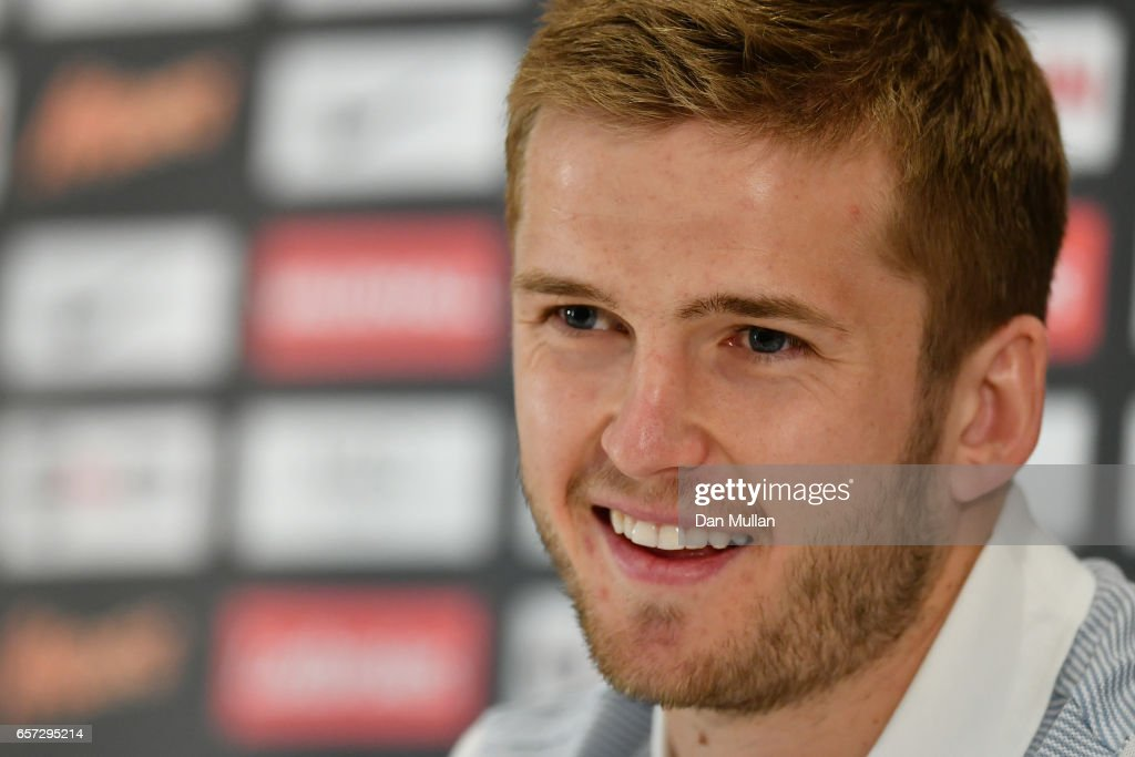 Eric Dier of England speaks to the media during the England Press Conference at The Grove Hotel on March 24, 2017 in Hertford, England.