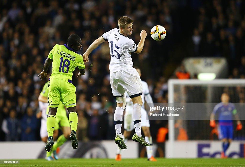 Eric Dier of Spurs rises above Frank Acheampong of Anderlecht to win a header during the UEFA Europa League Group J match between Tottenham Hotspur...