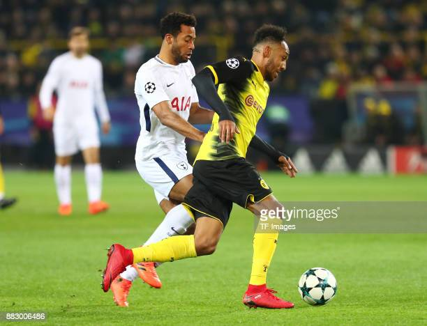Eric Dier of Tottenham and PierreEmerick Aubameyang of Dortmund battle for the ball during the UEFA Champions League group H match between Borussia...