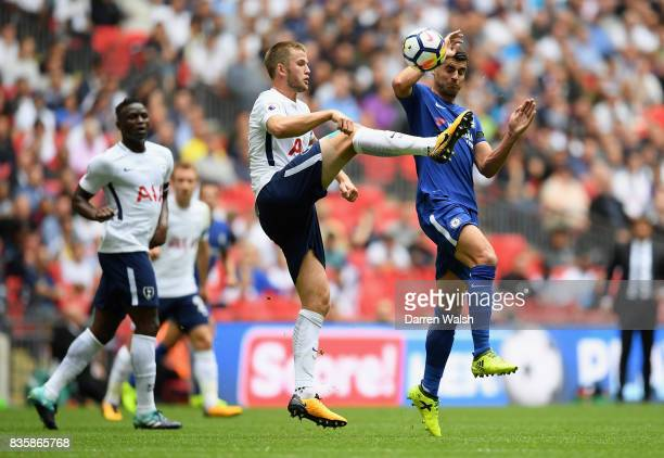 Eric Dier of Tottenham Hotspur and Alvaro Morata of Chelsea battle for possession during the Premier League match between Tottenham Hotspur and...