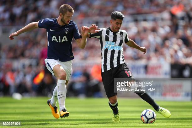 Eric Dier of Tottenham Hotspur and Ayoze Perez of Newcastle United during the Premier League match between Newcastle United and Tottenham Hotspur at...