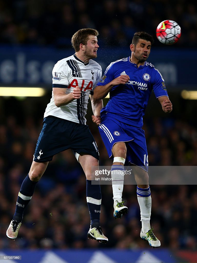 Eric Dier of Tottenham Hotspur and Diego Costa of Chelsea compete for a header during the Barclays Premier League match between Chelsea and Tottenham Hotspur at Stamford Bridge on May 02, 2016 in London, England.