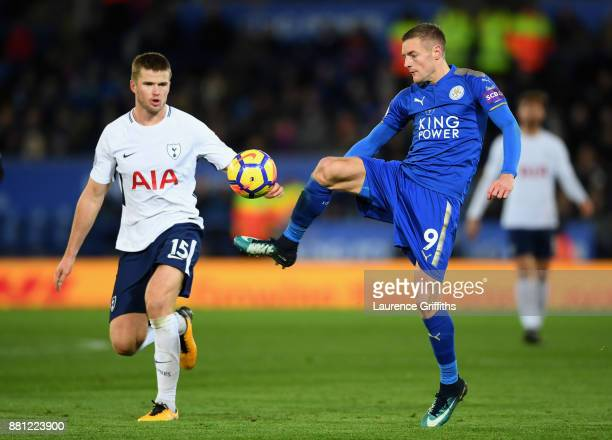 Eric Dier of Tottenham Hotspur and Jamie Vardy of Leicester City in action during the Premier League match between Leicester City and Tottenham...