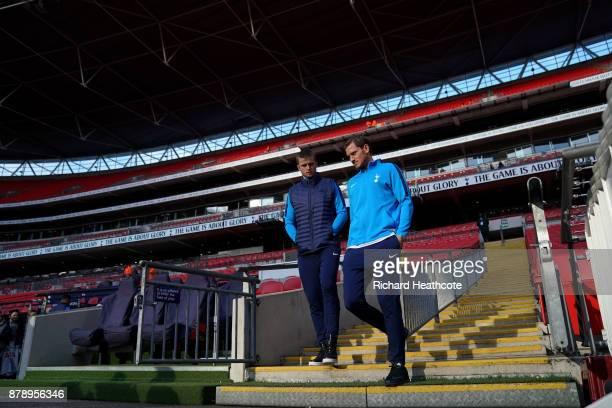 Eric Dier of Tottenham Hotspur and Jan Vertonghen of Tottenham Hotspur arrive at the stadium prior to the Premier League match between Tottenham...
