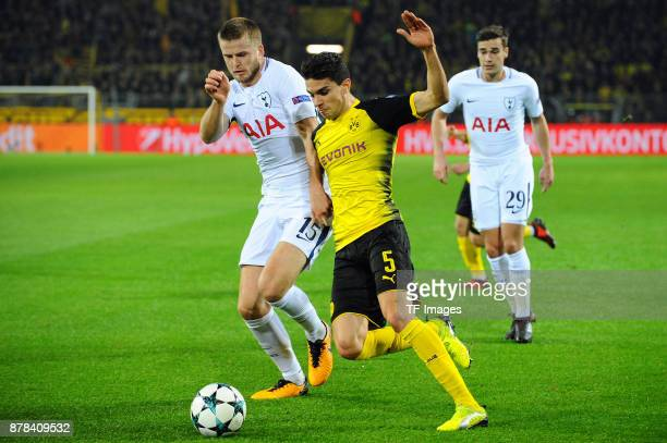 Eric Dier of Tottenham Hotspur and Marc Bartra Aregall of Borussia Dortmund battle for the ball during the UEFA Champions League group H match...