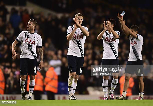 Eric Dier of Tottenham Hotspur applauds the fans with team mates after the Barclays Premier League match between Tottenham Hotspur and Norwich City...