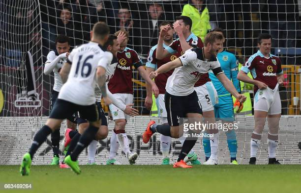 Eric Dier of Tottenham Hotspur celebrates after he scores during the Premier League match between Burnley and Tottenham Hotspur at Turf Moor on April...