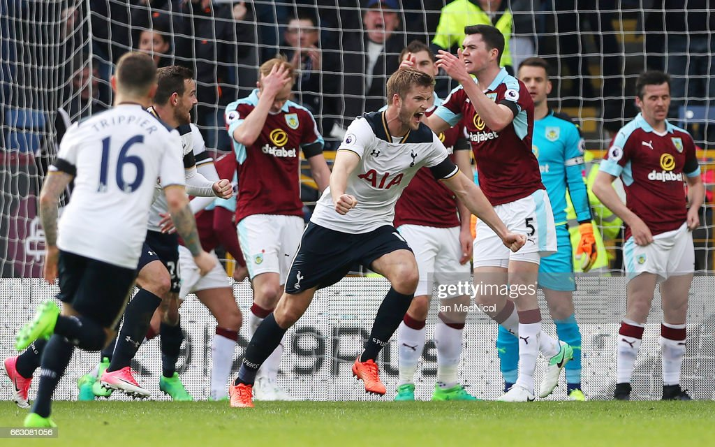 Eric Dier of Tottenham Hotspur celebrates scoring his sides first goal during the Premier League match between Burnley and Tottenham Hotspur at Turf Moor on April 1, 2017 in Burnley, England.