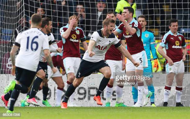 Eric Dier of Tottenham Hotspur celebrates scoring his sides first goal during the Premier League match between Burnley and Tottenham Hotspur at Turf...