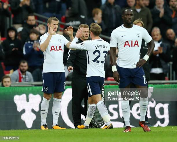 Eric Dier of Tottenham Hotspur comes on for Christian Eriksen of Tottenham Hotspur during the Premier League match between Tottenham Hotspur and...