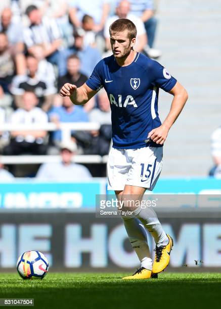 Eric Dier of Tottenham Hotspur controls the ball during the Premier League Match between Newcastle United and Tottenham Hotspur at StJames' Park on...