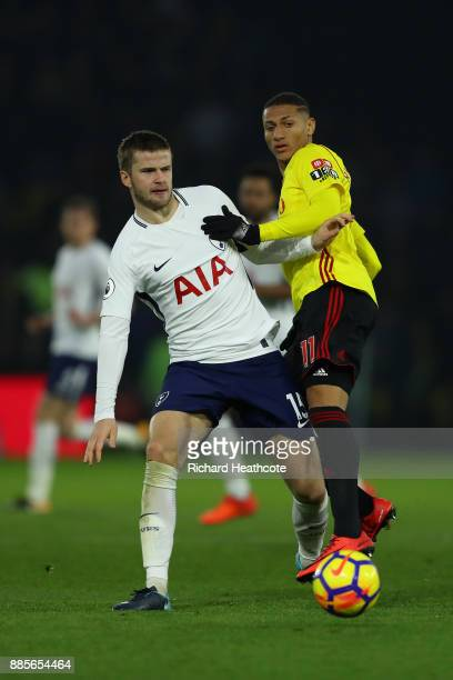 Eric Dier of Tottenham Hotspur holds off Richarlison of Watford during the Premier League match between Watford and Tottenham Hotspur at Vicarage...