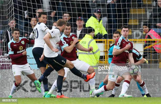Eric Dier of Tottenham Hotspur scores his sides first goal during the Premier League match between Burnley and Tottenham Hotspur at Turf Moor on...