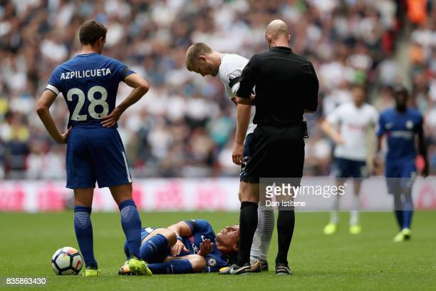 Eric Dier of Tottenham Hotspur speaks to David Luiz of Chelsea after a challenge during the Premier League match between Tottenham Hotspur and...