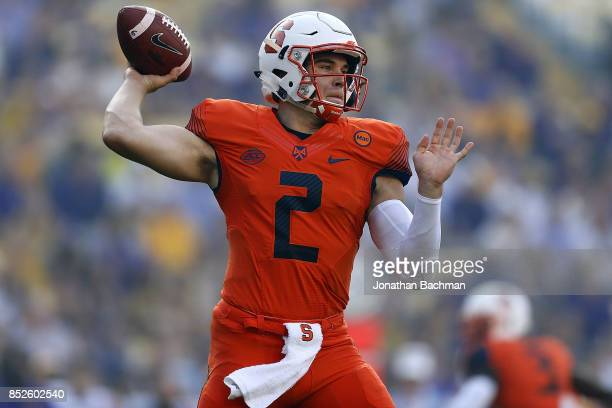 Eric Dungey of the Syracuse Orange throws the ball during the first half of a game against the LSU Tigers at Tiger Stadium on September 23 2017 in...