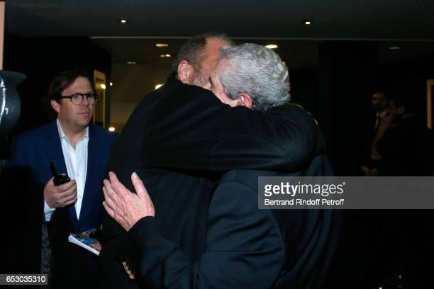 Eric DupondMoretti and Director of the movie Claude Lelouch attend the 'Chacun sa vie' Paris Premiere at Cinema UGC Normandie on March 13 2017 in...