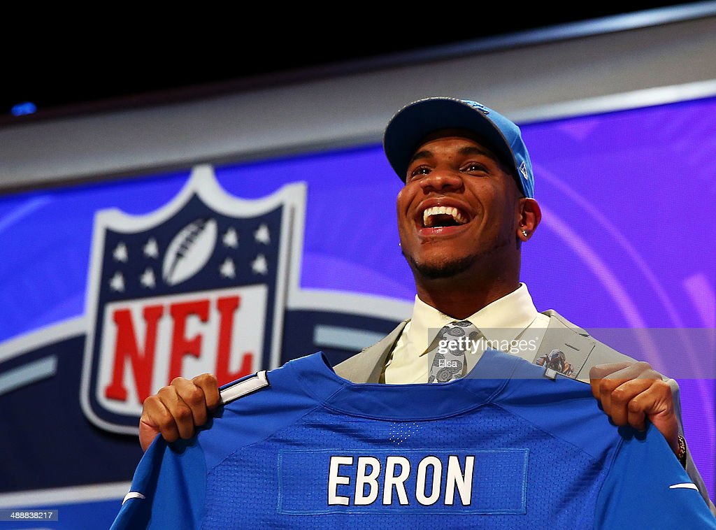<a gi-track='captionPersonalityLinkClicked' href=/galleries/search?phrase=Eric+Ebron&family=editorial&specificpeople=8312199 ng-click='$event.stopPropagation()'>Eric Ebron</a> of the North Carolina Tar Heels poses with a jersey after he was picked #10 overall by the Detroit Lions during the first round of the 2014 NFL Draft at Radio City Music Hall on May 8, 2014 in New York City.