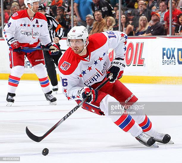 Eric Fehr of the Washington Capitals handles the puck against the Anaheim Ducks on February 15 2015 at Honda Center in Anaheim California