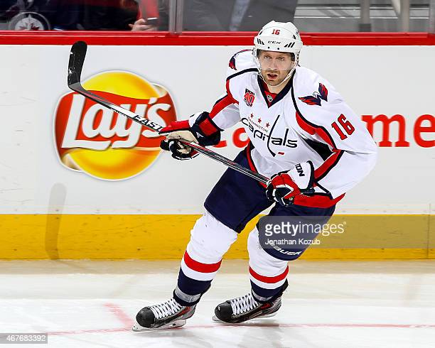 Eric Fehr of the Washington Capitals keeps an eye on the play during second period action against the Winnipeg Jets on March 21 2015 at the MTS...